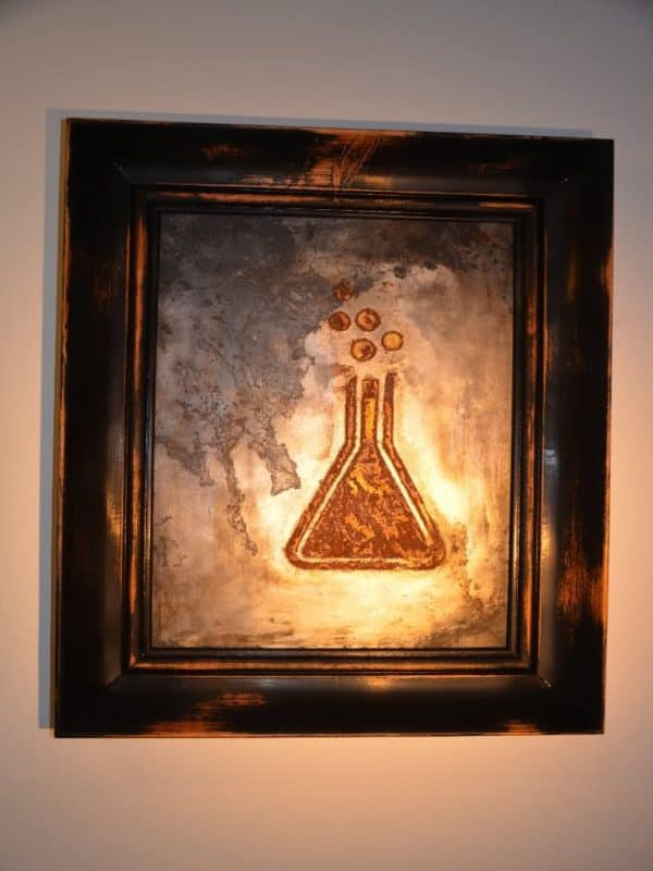 Metal Engraving Art / Tableau gravure sur métal in art metals  with Wood Vintage Upcycled Recycled Art Metal
