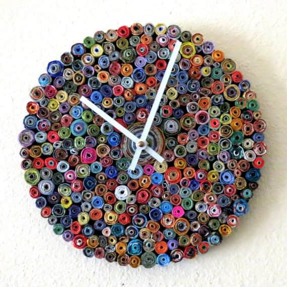 Recycled Paper Wall Clock in art paper  with wall Recycled Art Recycled paper art Paper & Books Handmade Clock