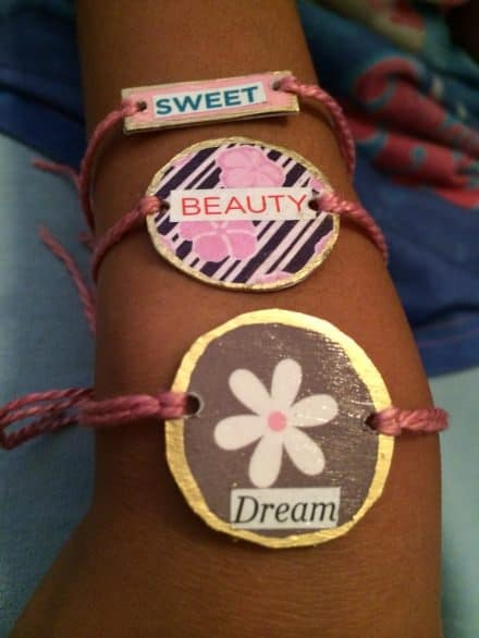 Recycled Gift-cards into Friendship Bracelets