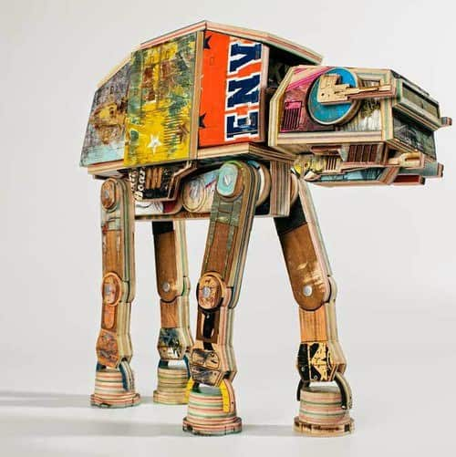 Star Wars AT-AT Walker made from repurposed skateboard decks Recycled Art