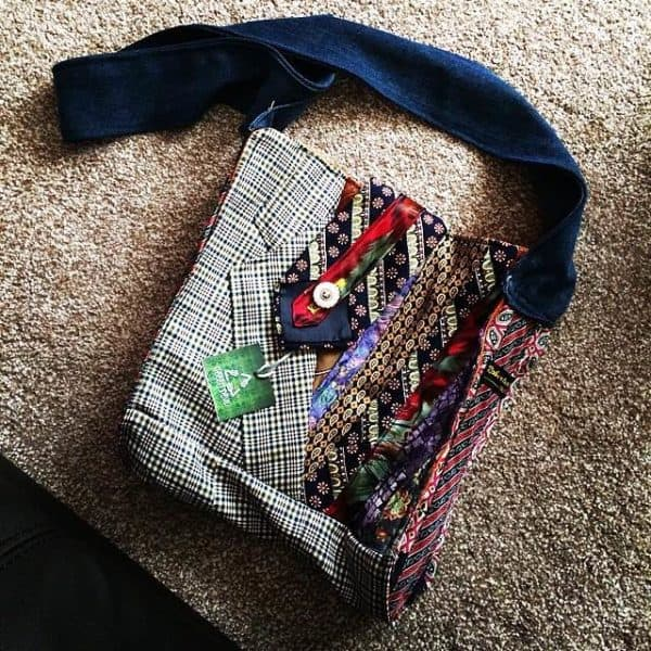 Green Devil: Bag made from neckties and suit jacket Accessories Clothing