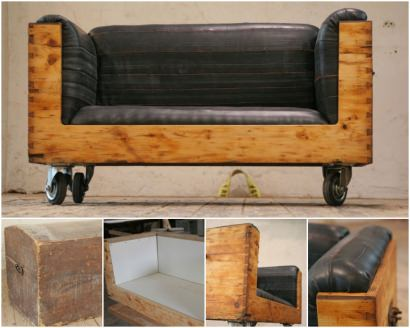 Upcycled Chest and inner tubes into a vintage Sofa