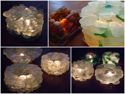 T-lights holders made of Sea glass