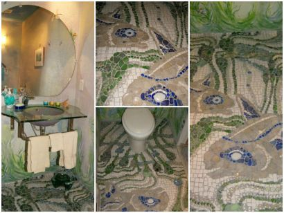 Recycled Powder Room & Creek Glass Floor