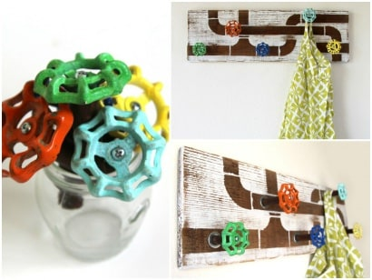 Recycled water faucet handles into coat rack