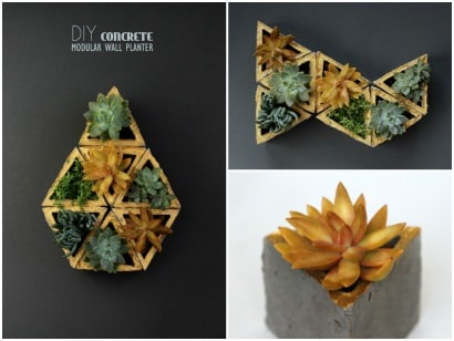 Concrete Wall Planters Made With Recycled Cardboard Molds