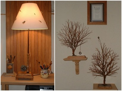 Flyrod lamp, armoire & trees: All from trash to treasure