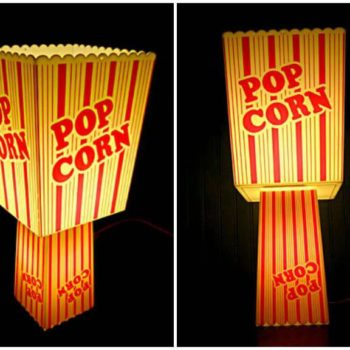Recycled Popcorn containers into table lamp