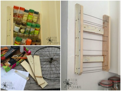 Spice rack with bicycle wheel
