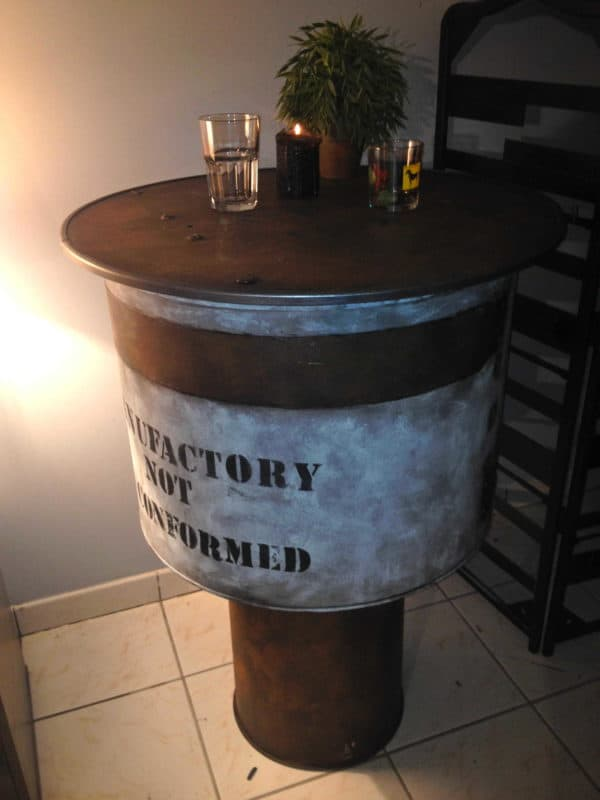 Table Manufactory From A Dryer Drum Machine Recycled Furniture