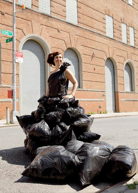 Garbage dress by Robin Barcus in plastics fabric accessories  with garbage Dress