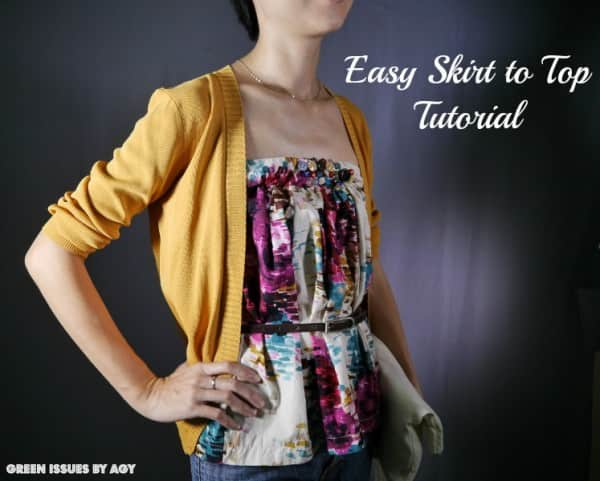 From Skirt to Top in fabric diy  with Upcycled sewing refashion DIY