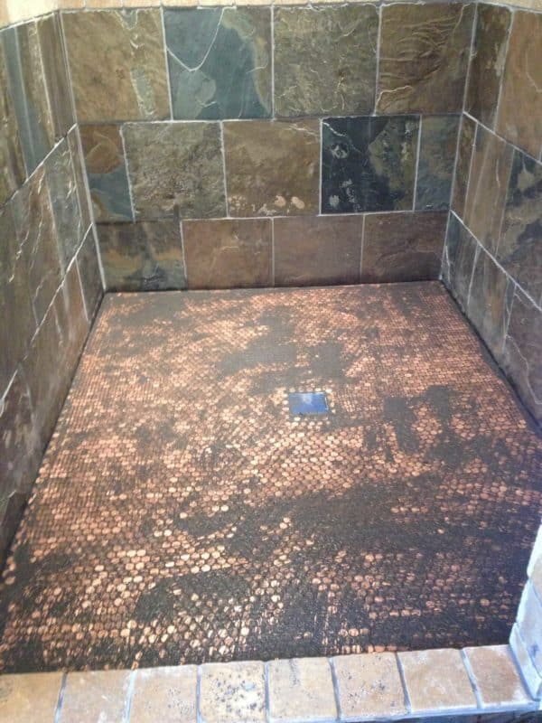 Shower Floor Made Out Of 5382 Pennies Do-It-Yourself Ideas Home Improvement
