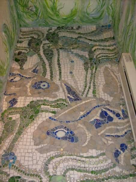 Recycled Powder Room & Creek Glass Floor Recycled Glass