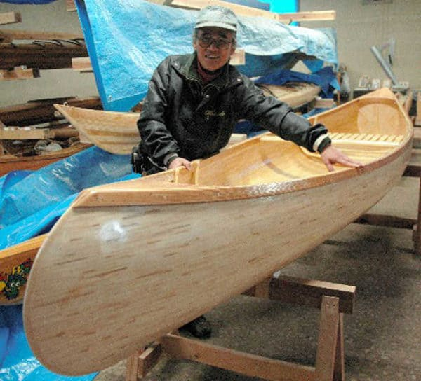 Upcycled Chopsticks Canoe in wood art  with Recycled chopsticks