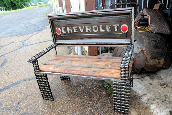 Vintage truck parts transformed into benches in furniture metals  with Vintage Recycled Furniture car parts