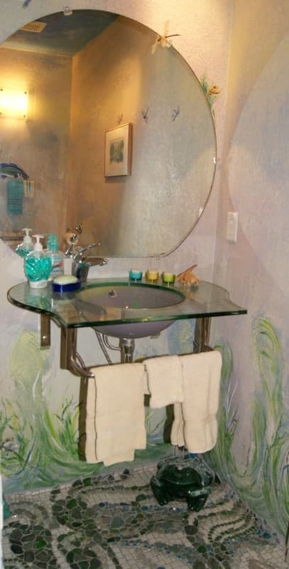 Recycled Powder Room & Creek Glass Floor in glass  with Recycled mosaic floor Bathroom