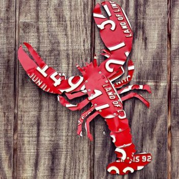 Upcycled Giant License Plate Red Maine Lobster