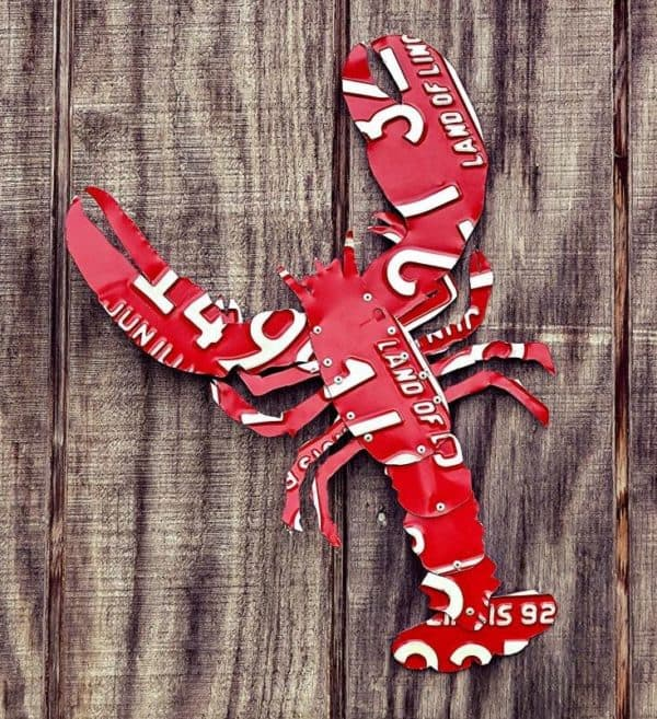 Upcycled Giant License Plate Red Maine Lobster Recycled Art Recycling Metal