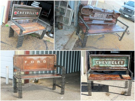 Vintage Truck Parts Transformed Into Benches
