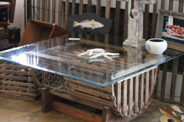 Repurposed Lobster Trap into Coffee Table Recycled Furniture