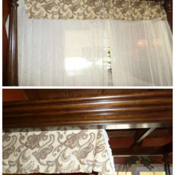 Recycle a Bed Skirt For A Canopy Bed Solution