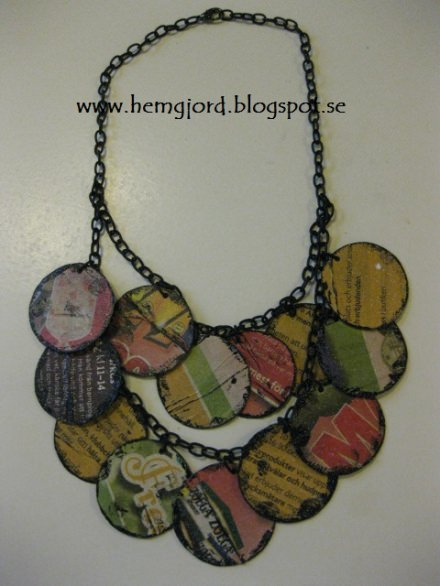 Necklace of recycled newspaper and cornflakes-box