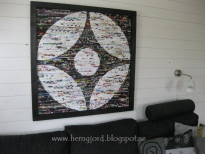 Wall decoration made of magazines