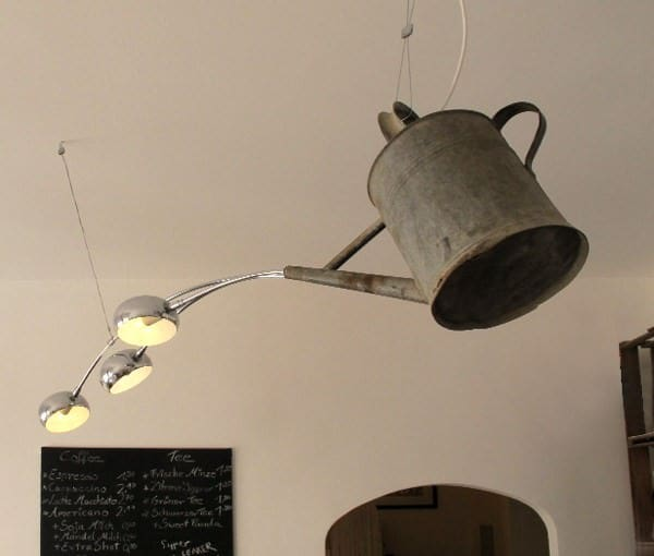 Watering Can Transformed into a Chandelier Garden Ideas Recycled Furniture