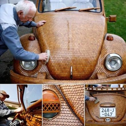 Wooden Volkswagen Beetle car from over 50,000 separate pieces of oak.