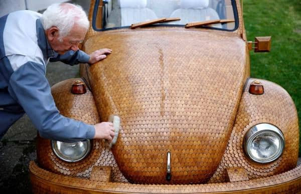 Wooden Volkswagen Beetle car from over 50,000 separate pieces of oak Wood & Organic