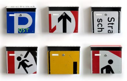 Reused trafic signs to make original letter boxes