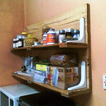 Plastic Bracket And Upcycled Pallet Wood Into Kitchen Shelf
