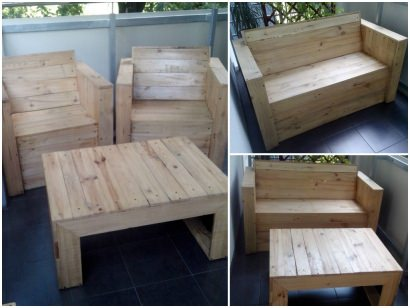 Pallets chairs and coffee table