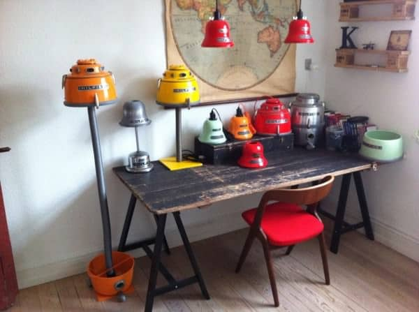 Lamps from recycled Nilfisk vacuums in lights  with Upcycled Lamps Interior Design