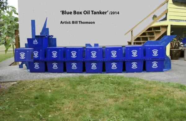 Blue Box Oil Tanker Recycled Art