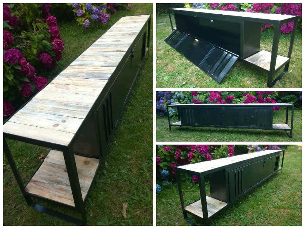 Meuble tv avec plateaux en bois de palette recycled ideas recyclart - Meubles palettes bois ...