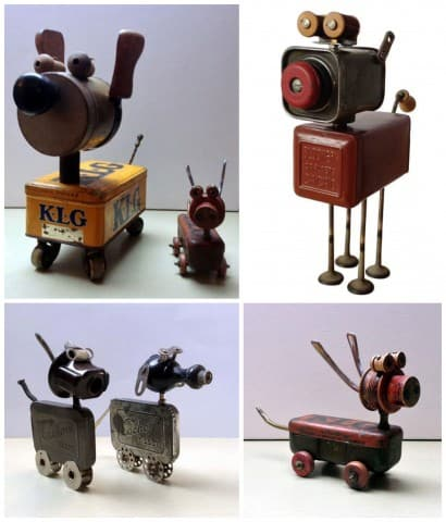 Amazing Tin Dogs made by Daphné Burge