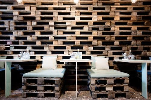 Pallet Wall for This Restaurant in Antwerp Recycled Pallets