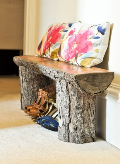 Salvaged tree bench