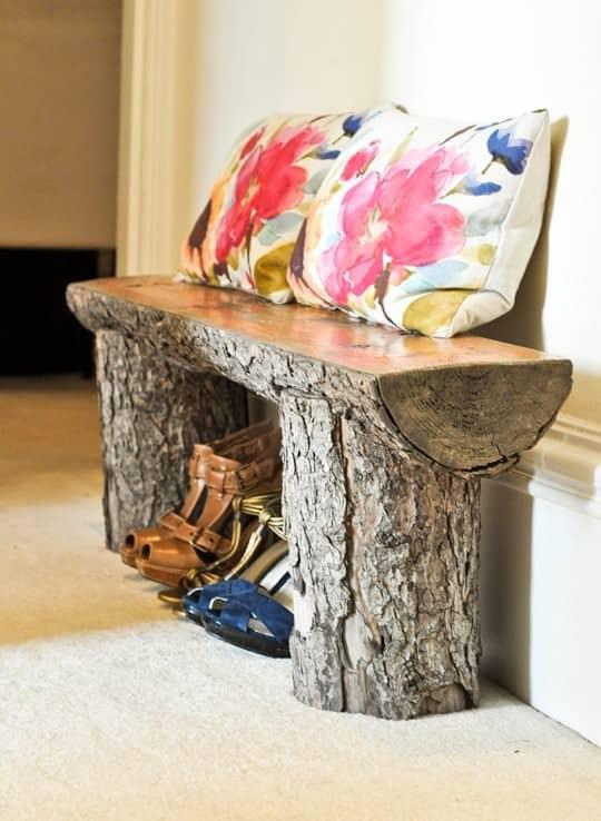 Salvaged tree bench Garden Ideas Wood & Organic
