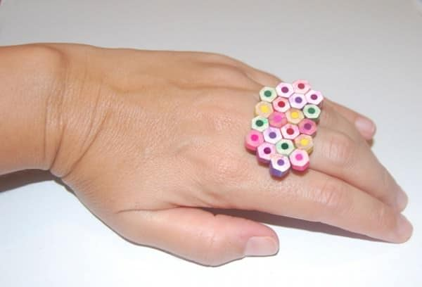 DIY: Making ring and clip from discarded pencils Do-It-Yourself Ideas Upcycled Jewelry Ideas