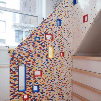 20000 lego bricks shaping a staircase