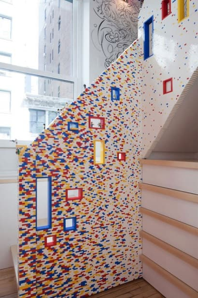 20000 lego bricks shaping a staircase