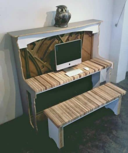 Salvaged piano desk