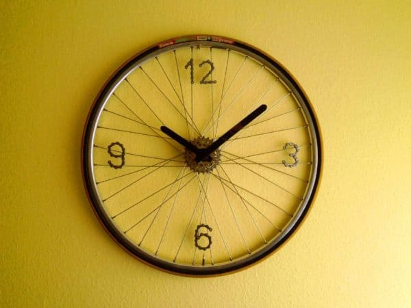 Recycled Bike Wheel Clock Bike & Friends