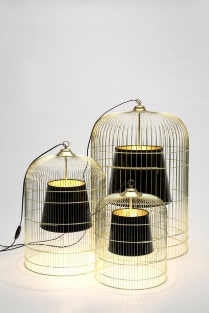 Table lamp from birdcage and lampshade