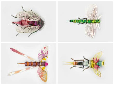 Magazine recycled into bugs sculptures