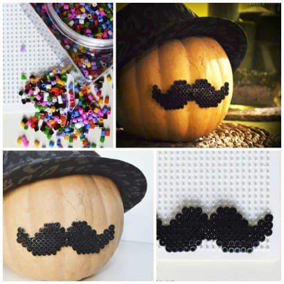Halloween mustache pumpkin