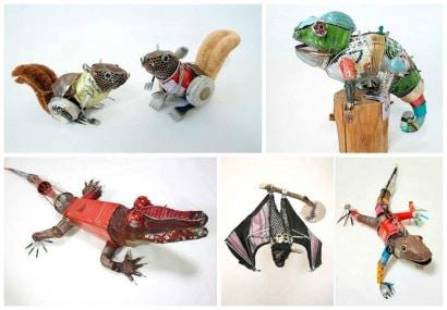 Artista Japonesa Transforma Lixo da Rua em Esculturas de Animais